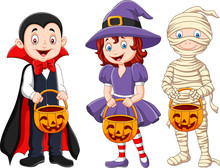 Cartoon Kids With Halloween Co...