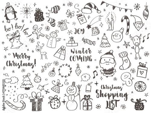 Obraz Big set of Christmas design element in doodle style - fototapety do salonu