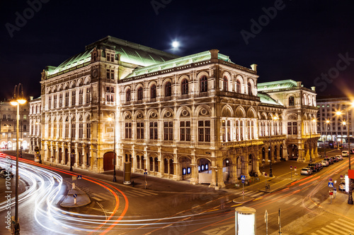 State Opera in Vienna Austria at night