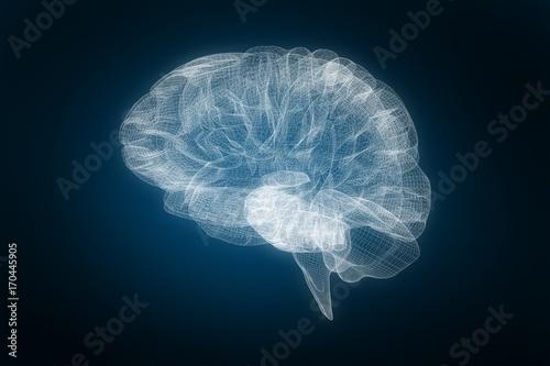 Obraz Composite image of 3d image of human brain - fototapety do salonu