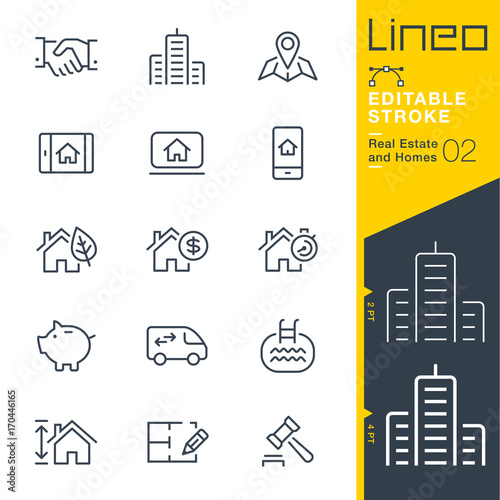 Fototapeta Lineo Editable Stroke - Real Estate and Homes line icons. Vector Icons - Adjust stroke weight - Expand to any size - Change to any colour obraz