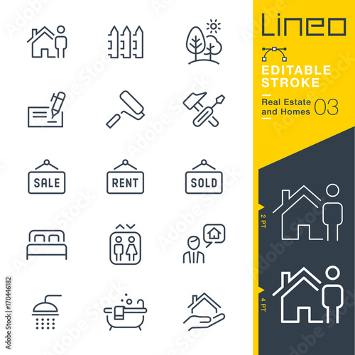 Canvas Print Lineo Editable Stroke - Real Estate and Homes line icons