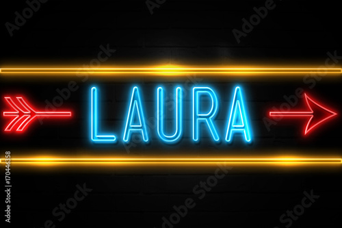 Laura  - fluorescent Neon Sign on brickwall Front view Wallpaper Mural
