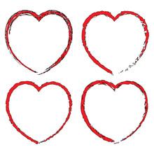 Red Black Heart Set. Happy Valentine's Day. Grunge Texture. Vector Illustration.