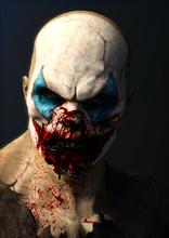 Evil Blood Thirsty Clown . 3d Rendering.