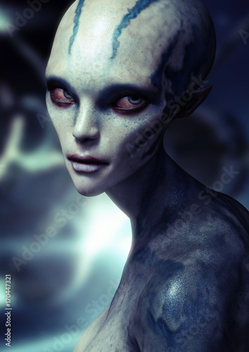 Portrait of a alien female . 3d rendering Wallpaper Mural