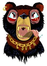 Fierce Bear Cub With Golden Chain