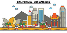 California, Los Angeles.City Skyline: Architecture, Buildings, Streets, Silhouette, Landscape, Panorama, Landmarks. Editable Strokes. Flat Design Line Vector Illustration Concept. Isolated Icons