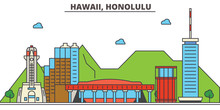 Hawaii, Honolulu.City Skyline: Architecture, Buildings, Streets, Silhouette, Landscape, Panorama, Landmarks. Editable Strokes. Flat Design Line Vector Illustration Concept. Isolated Icons