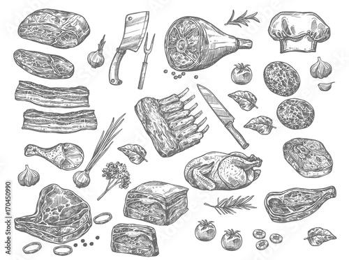 Fotografía  Vector sketch icons of meat for butchery shop
