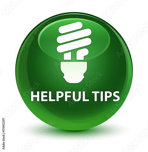 Fotografía  Helpful tips (bulb icon) glassy soft green round button
