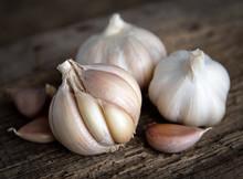 Garlic Bulbs With Garlic Clove...