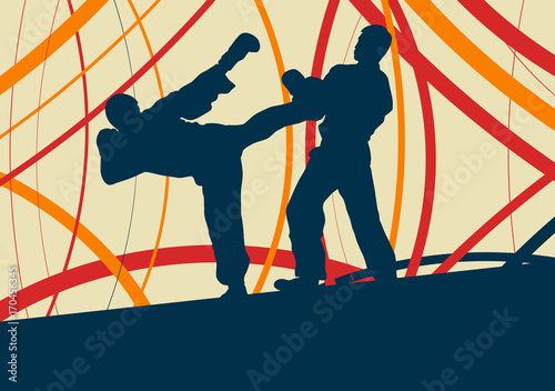 Fototapeta  Taekwondo fight man vector abstract