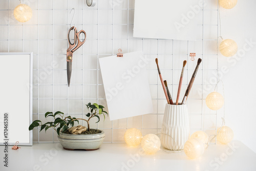 Spoed Fotobehang Bonsai White home office room interior, bloggers workplace