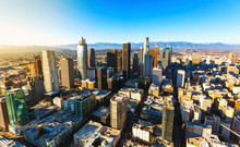 Aerial View Of A Downtown Los ...