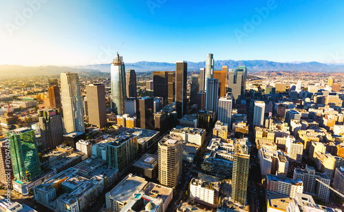 Plakat Widok z lotu ptaka na centrum Los Angeles