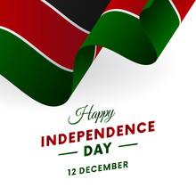 Banner Or Poster Of Kenya Independence Day Celebration. Waving Flag. Vector Illustration.