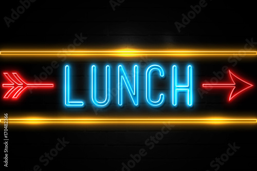 Fotografering  Lunch  - fluorescent Neon Sign on brickwall Front view