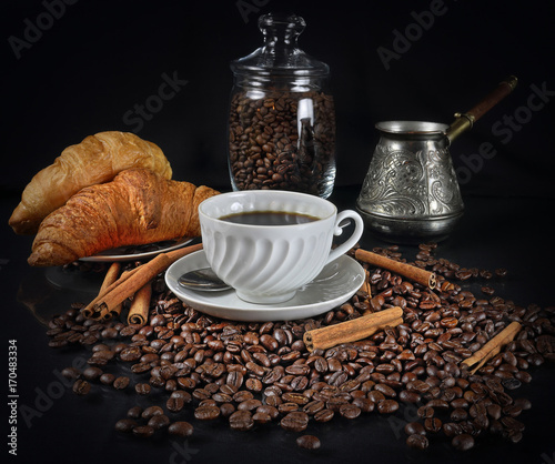 Papiers peints Café en grains Coffee still life in a retro style