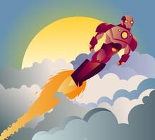 Armored Robot Superhero Flying...