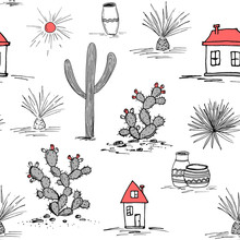 Hand Drawn Set With Green Cactus And Mexican Houses. Saguaro, Blue Agave, Sun, Houses, And Jars. Latin American Background. Vector Illustration.