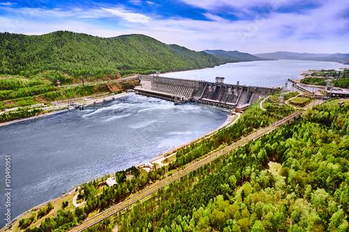 Fototapeta Hydroelectric power station in Krasnoyarsk. Aerial view. obraz