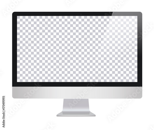 Fotografie, Obraz  Monitor in imac style with blank screen, isolated on white background
