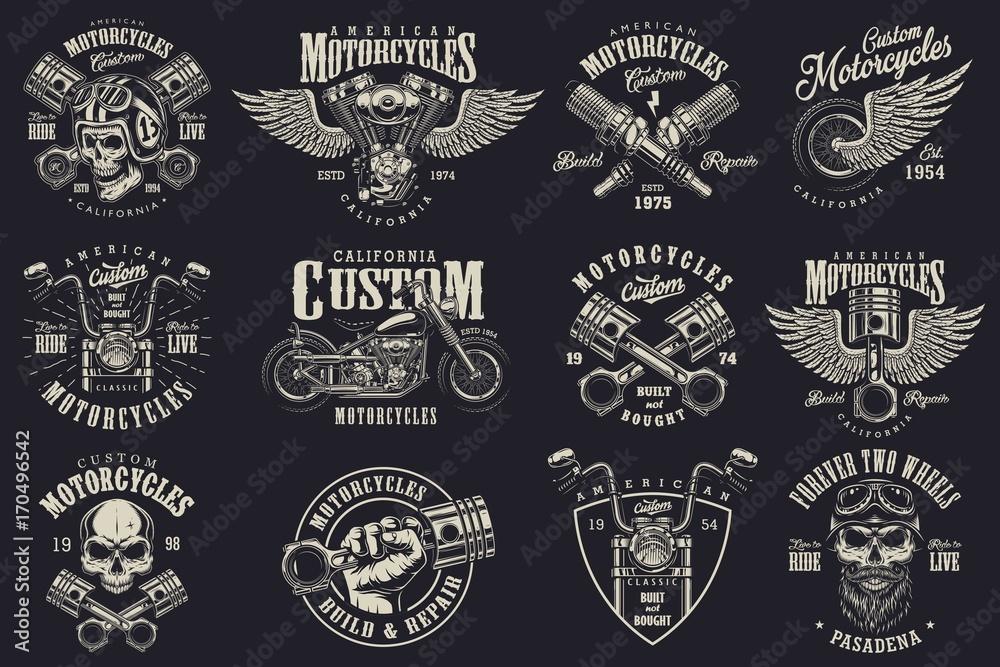 Fototapeta Set of vintage custom motorcycle emblems, labels, badges, logos, prints, templates. Layered, isolated on dark background Easy rider