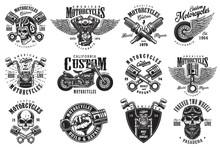 Set Of Vintage Custom Motorcyc...
