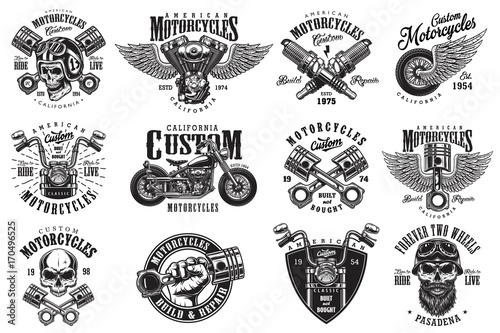 Fotografía Set of vintage custom motorcycle emblems, labels, badges, logos, prints, templates