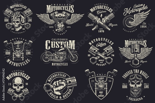 Photo Set of vintage custom motorcycle emblems, labels, badges, logos, prints, templates