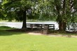 The small wood fishing dock under the shade trees.