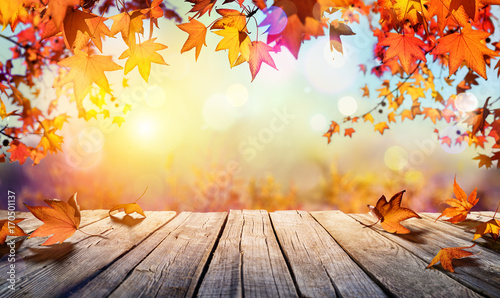 Wooden Table With Orange Leaves And Blurred Autumn Background
