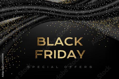 Czarny piątek luksusowy plakat z czarnymi dekoracjami i srebrnymi konfetti.