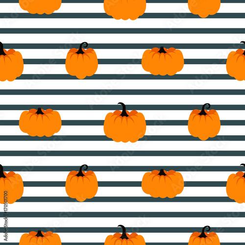 Materiał do szycia Halloween pumpkin vector seamless striped pattern. Orange pumpkins on striped blue and white background.
