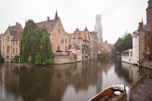 Poster Brugge Rozenhoedkaai In Bruges Misty Long Exposure