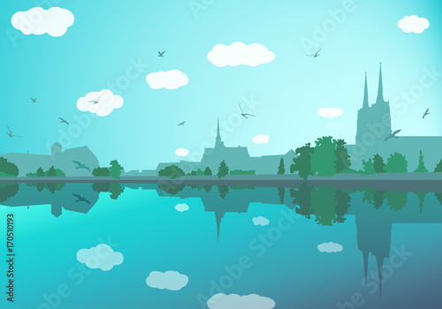 Foto op Plexiglas Turkoois Landscape with old city buildings, river, trees, sky and birds