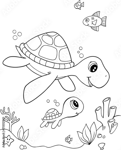 Poster Cartoon draw Cute Sea Turtle Vector Illustration Art