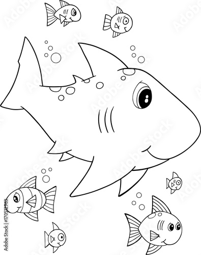 Papiers peints Cartoon draw Cute Shark Vector Illustration Art