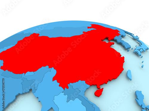 China on blue political globe Canvas Print
