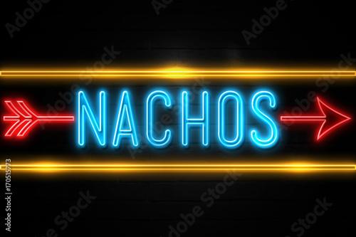 Pinturas sobre lienzo  Nachos  - fluorescent Neon Sign on brickwall Front view