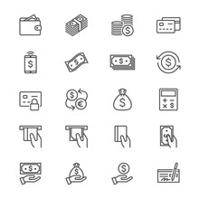 Money Thin Icons