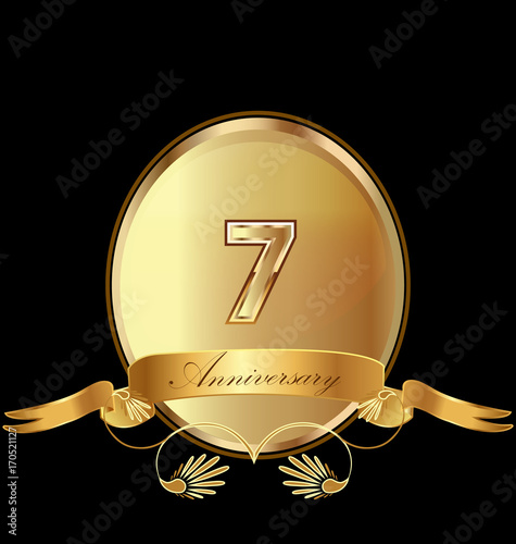 фотография  7th golden anniversary birthday seal icon vector