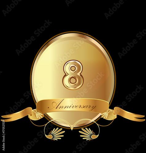 фотография  8th golden anniversary birthday seal icon vector