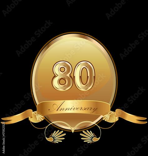 фотография  80th golden anniversary birthday seal icon vector