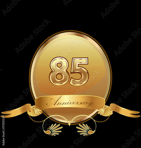 фотография  85th golden anniversary birthday seal icon vector