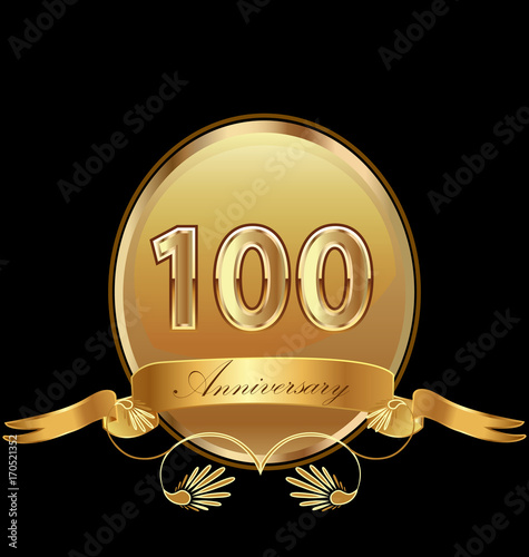 фотография  100th golden anniversary birthday seal icon vector