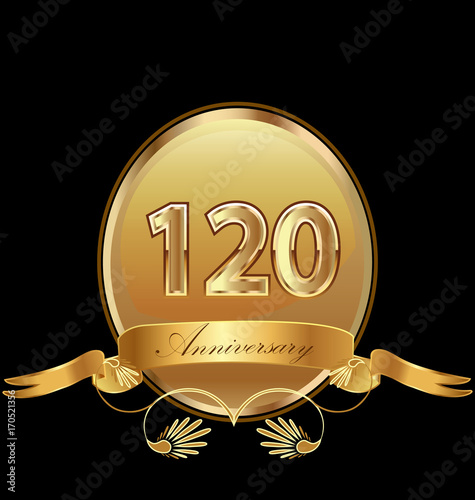 Платно  120th golden anniversary birthday seal icon vector
