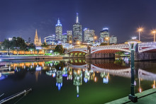 Melbourne, Australia - Long Exposure Image Of City Skyline Of Melbourne Downtown, Princess Bridge,  Yarra River And Business Building At Night
