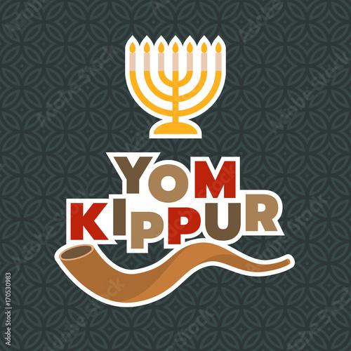 Obraz na płótnie menorah and shofar horn for yom kippur of israel new year in rosh hashanah